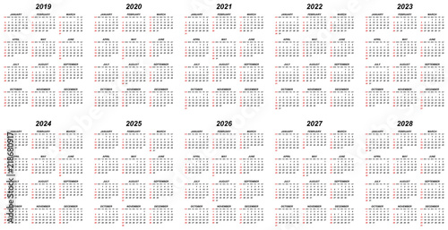 Fotografia  Ten years simple editable vector calendars for year 2019 2020 2021 2022 2023 202