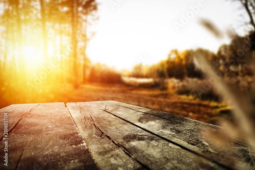 Obraz desk of free space and autumn time  - fototapety do salonu