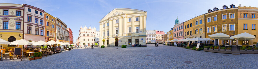 Town square of Lublin, Poland