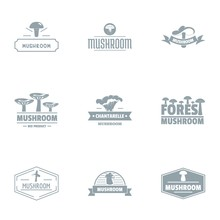 Mushroom Edge Logo Set. Simple Set Of 9 Mushroom Edge Vector Logo For Web Isolated On White Background