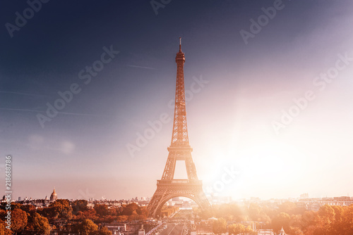 Foto op Aluminium Eiffeltoren Paris cityscape with Eiffel Tower at sunset