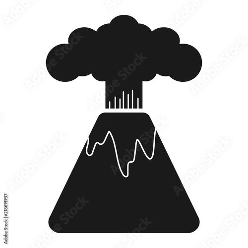 Fotografie, Obraz  Simple, flat icon of an erupting volcano