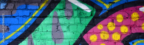 plakat Fragment of graffiti drawings. The old wall decorated with paint stains in the style of street art culture. Colored background texture