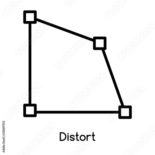 Fotografie, Obraz  Distort icon vector isolated on white background, Distort sign , line or linear