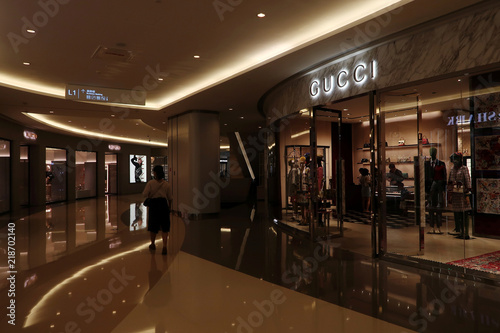 d79e7385576 Sign of Italian luxury brand Gucci is seen in a shopping mall on Friday  night in