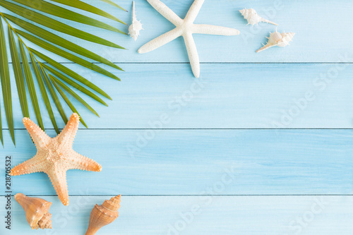 Fototapeta Flat lay photo saeshell and starfish on blue wood table, top view and copy space