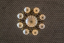 Tiles And Lamp In The Celling Of Ellis Island Registry Room
