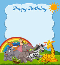 Animals Happy Birthday Card Te...