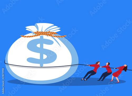 Fotografía  Three businessmen pulling money bags