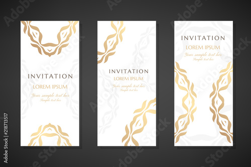 Fototapety, obrazy: Invitation templates. Cover design with gold ornaments and white background. Vector decorative vertical flayers with copy space.
