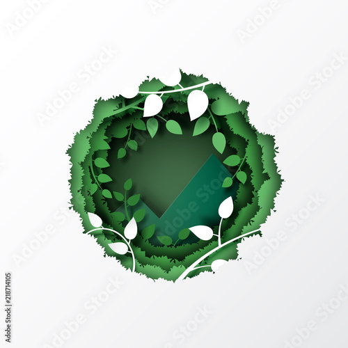 Fototapeta Nature concept with paper cut green leaf and forest silhouette landscape abstract background.Paper art style vector illustration. obraz