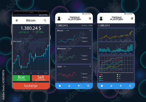 Trade Exchange On Phone Screens Professional Trader Tools For Successful Trading Mobile Banking Cryptocurrency Ui Interface Template