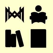 Library Vector Icons Set. Books, Fashion Home Logo, Book And Studying In This Set