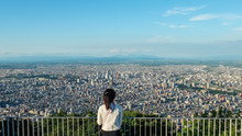 Sapporo City View From The Mount Moiwa, Hokkaido, Japan.