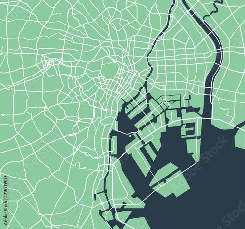 Fotografía Tokyo bay area road map