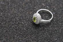 Green Gem Stone On Diamond Ring