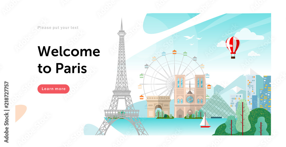 Fototapeta Welcome to Paris in France! Vector flat illustration of a city with landmarks: Eiffel Tower, Louvre, Notre Dame de Paris, cityscape
