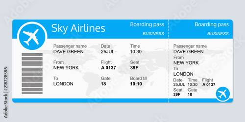 Fotografiet Plane ticket template