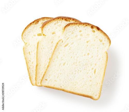 Fotomural Slice of white bread isolated on white