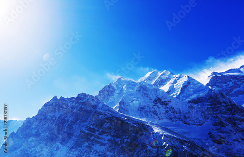 Acrylic Prints Dark blue Kanchenjunga region