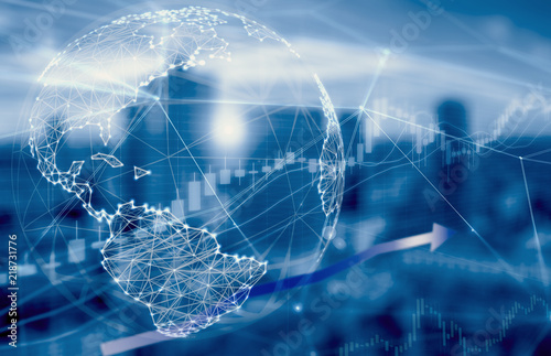 Pinturas sobre lienzo  Double exposure of stock graph market exchange data trend of graph, candle stick chart with night city background