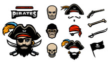 A Set Of Elements For Creating Pirated Logos. Hats, Bandana, Mustache, Beard. Pistols, Bones, Sabers And A Pirate Flag.