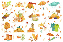 Set Of Associated With Autumn Objects. Seasonal Symbols In Cute Detailed Cartoon Style