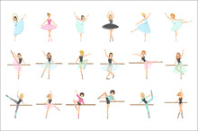 Ballerinas Training In Dance Class Set Of Flat Simplified Childish Style Cute Vector Illustrations Isolated