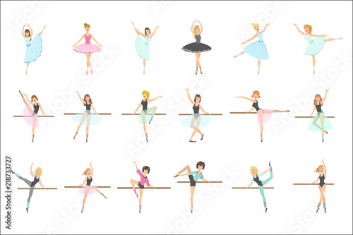 Ballerinas Training In Dance Class Set Of Flat Simplified Childish Style Cute Ve Canvas Print