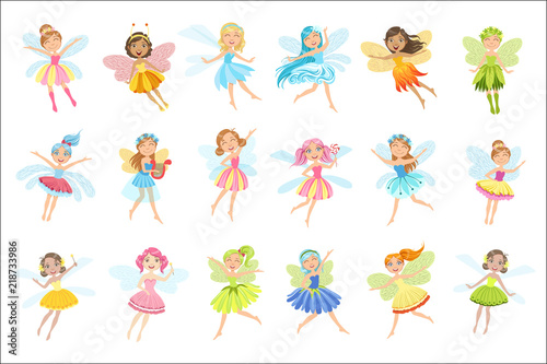 Fotografia Cute Fairies In Pretty Dresses Girly Cartoon Characters Set