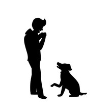 Silhouette Of A Dog Begging Fo...