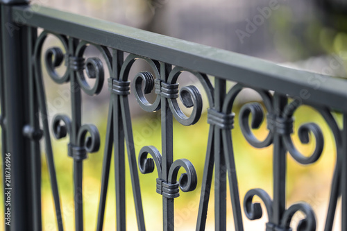 Leinwand Poster Wrought iron railings, grey