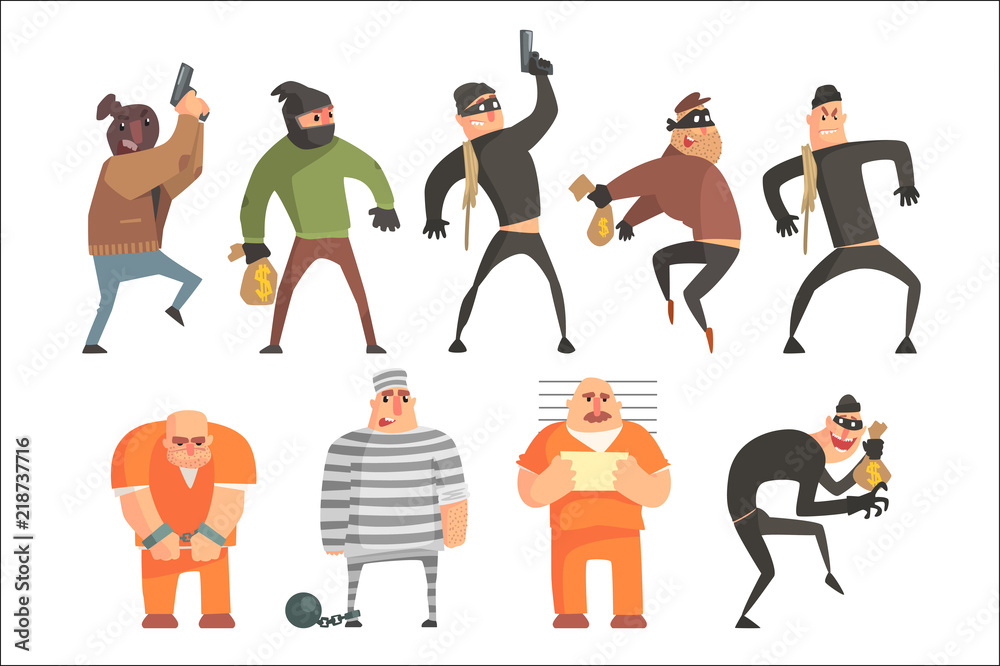 Fototapeta Criminals And Convicts Funny Characters Set. Cartoon Fun Style Vector Illustrations Isolated