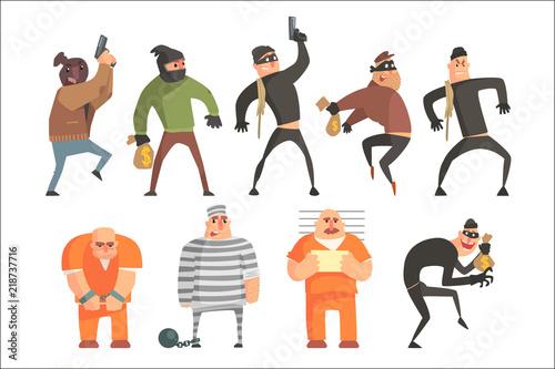 Fotografía Criminals And Convicts Funny Characters Set