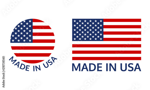 Obraz Made in USA logo or label set. US icon with American flag. Vector illustration. - fototapety do salonu