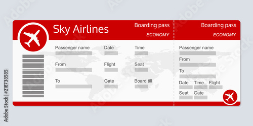 Plane Ticket Template Airplane Flight Realistic Blank Boarding Pass Vector Illustration