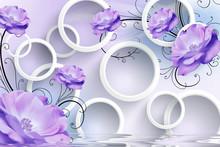 3d Background, Circles, Purple Flowers