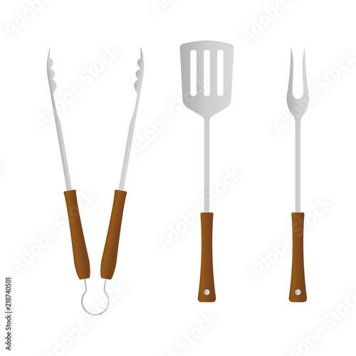 Fotografía  BBQ and grill tools icon set
