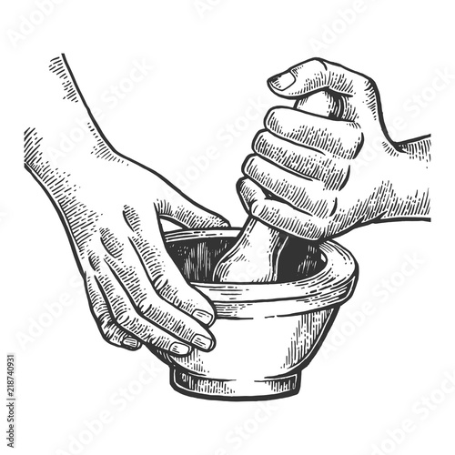 Fotografia Mortar and pestle engraving vector illustration