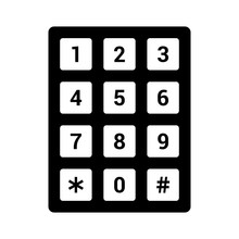 Number Pad Or Numeric Telephone Keypad Flat Vector Icon For Apps And Websites