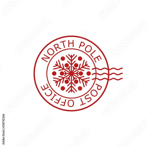 Fototapeta North Pole, post office sign or stamp