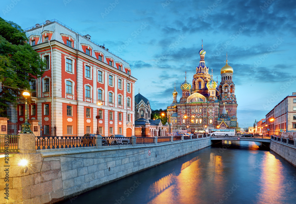 Fototapety, obrazy: St. Petersburg - Church of the Saviour on Spilled Blood, Russia