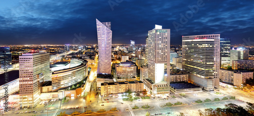 Fototapeta Panorama of Warsaw city center during the night, Poland obraz