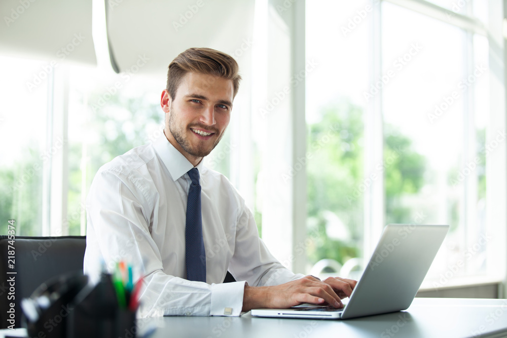 Fototapeta Happy young businessman using laptop at his office desk