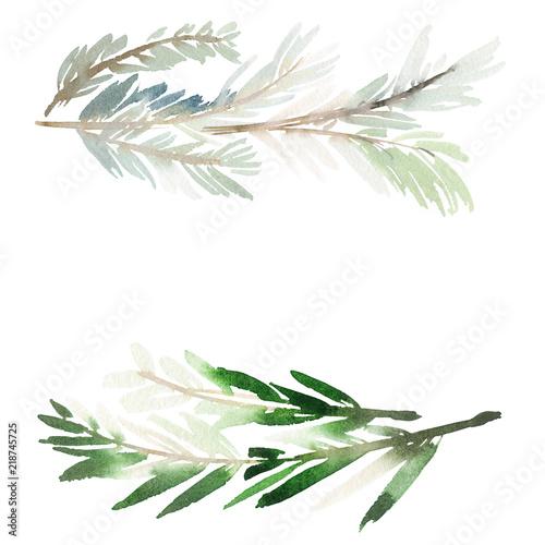 Fotografie, Obraz  Christmas wreath watercolor postcard.