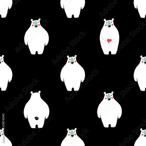 Valokuva  Seamless pattern with white bears