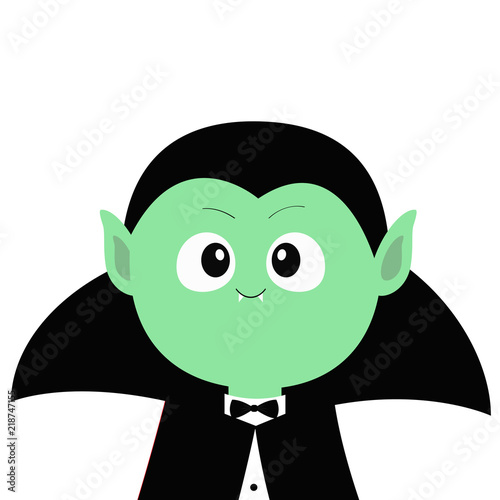 Count Dracula wearing black cape. Cute cartoon funny spooky ...