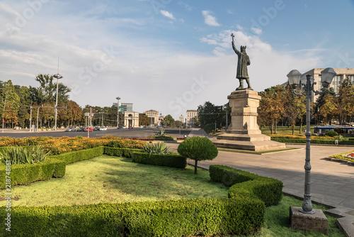 Fotografie, Obraz  Stefan cel Mare statue. Famous place in Chisinau city, Moldova.