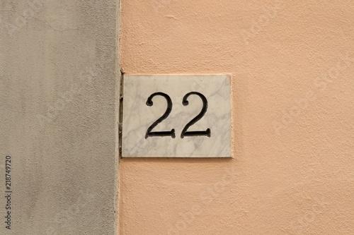 Poster  22 numero civico casa, ventidue concetto