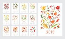 Calendar For 2019 Year. Set Of...